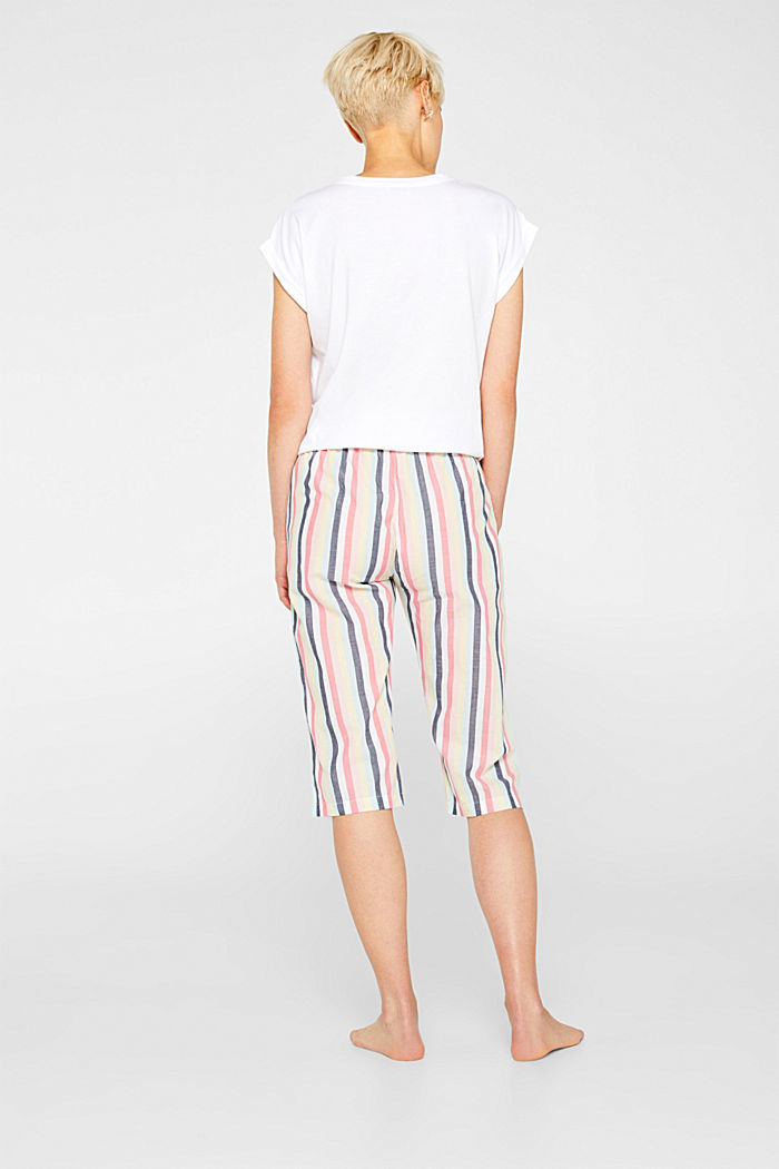 Fabric capris with stripes, 100% cotton, CORAL, detail image number 1
