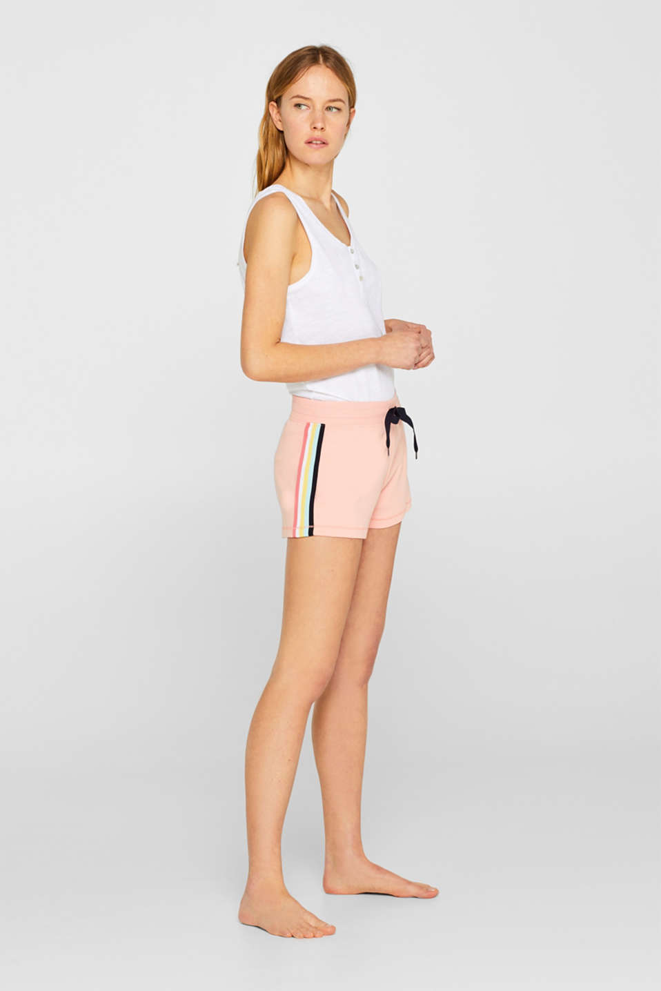 Jersey shorts with racing stripes, 100% cotton, CORAL, detail image number 1