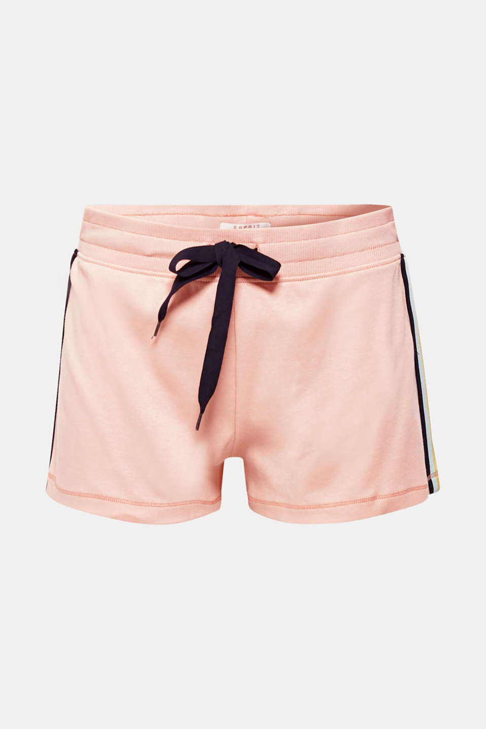 Jersey shorts with racing stripes, 100% cotton, CORAL, detail image number 4