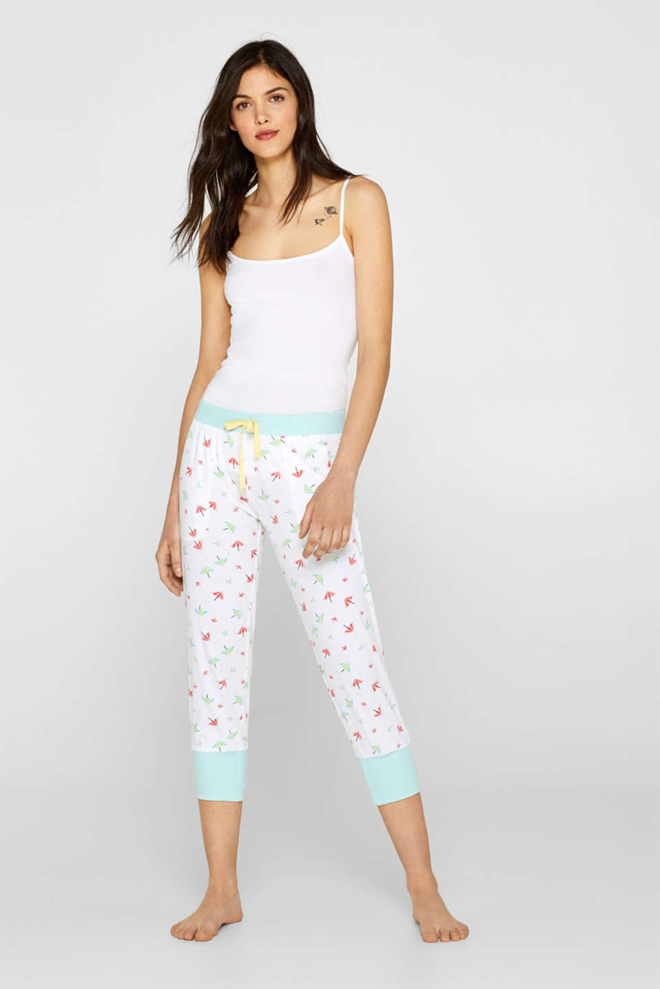 Esprit - Jersey trousers with a print, 100% cotton