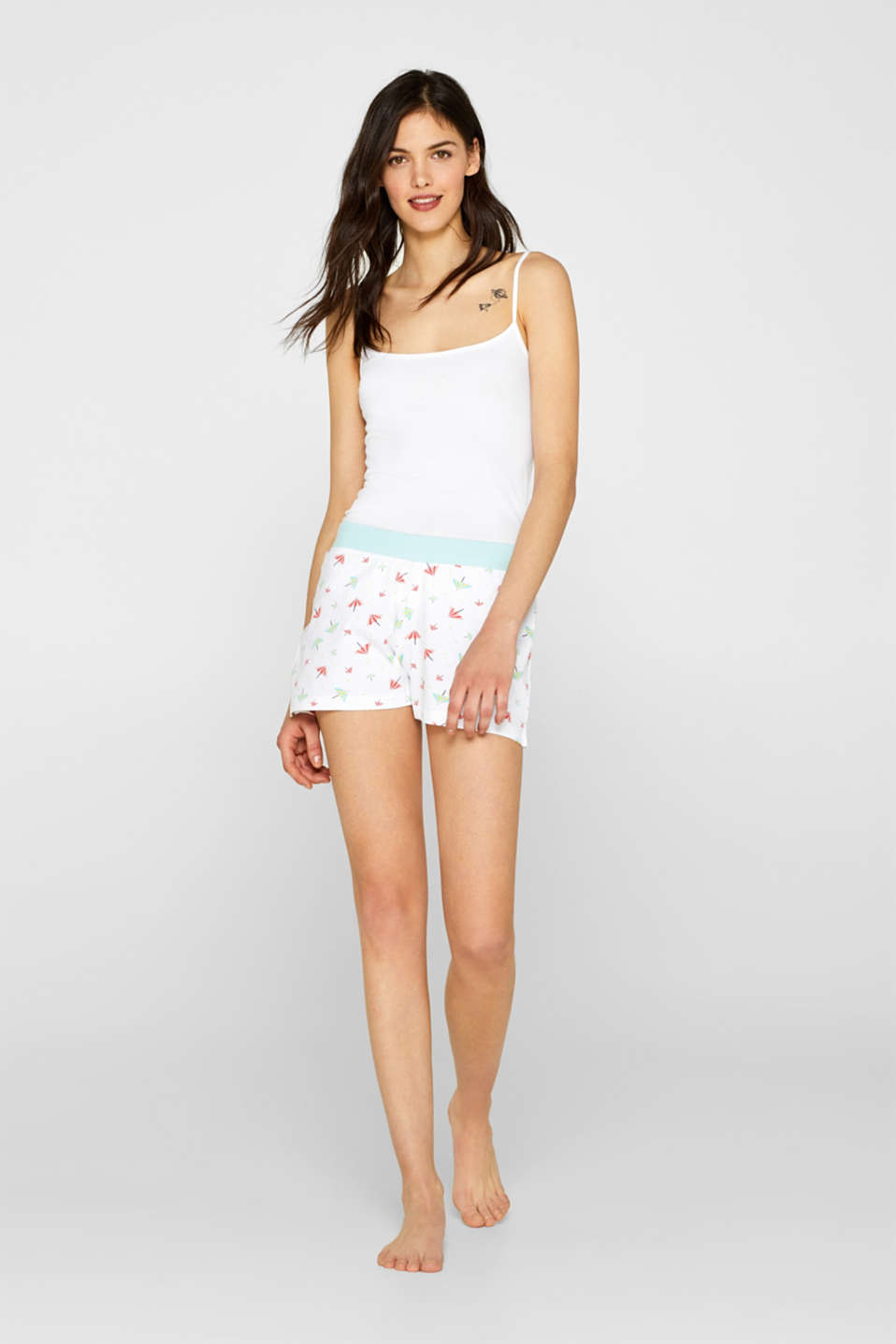 Esprit - Jersey shorts with print, 100% cotton