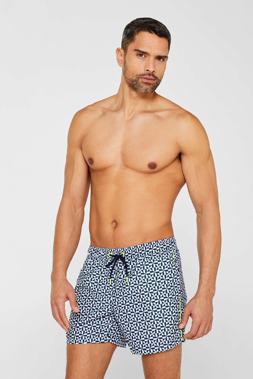 Esprit - Swim shorts with a mosaic print and neon details