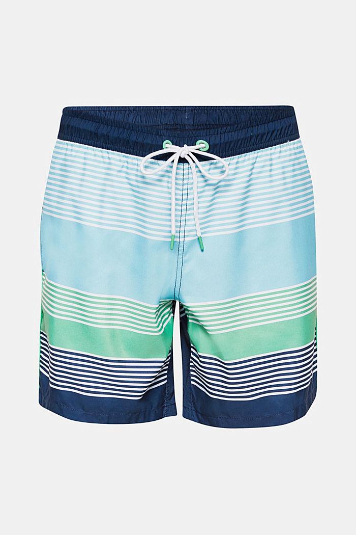 Zwemshort met strepen en blokstrepen, LIGHT GREEN, detail image number 0