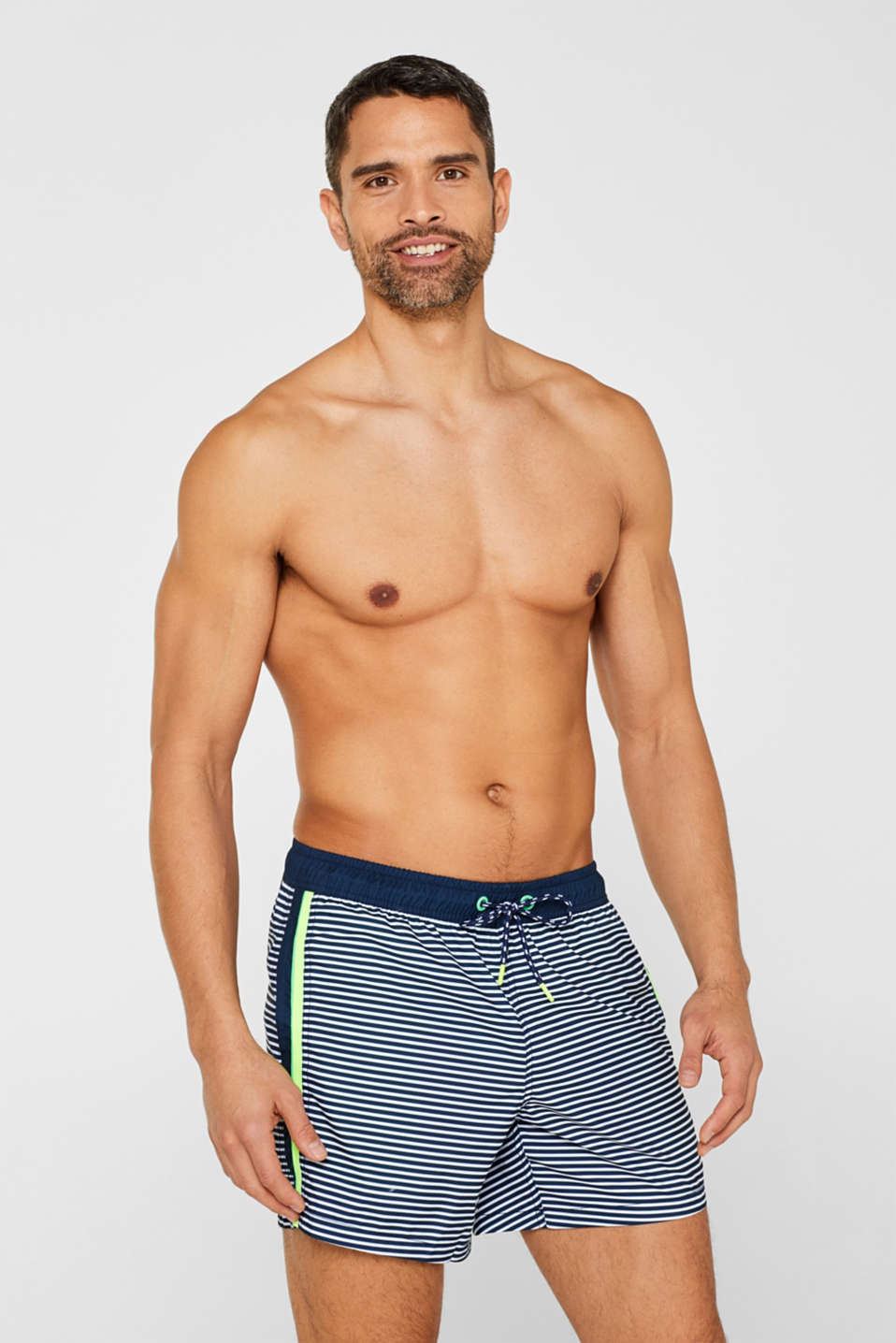 Esprit - Swim shorts with stripes and neon details