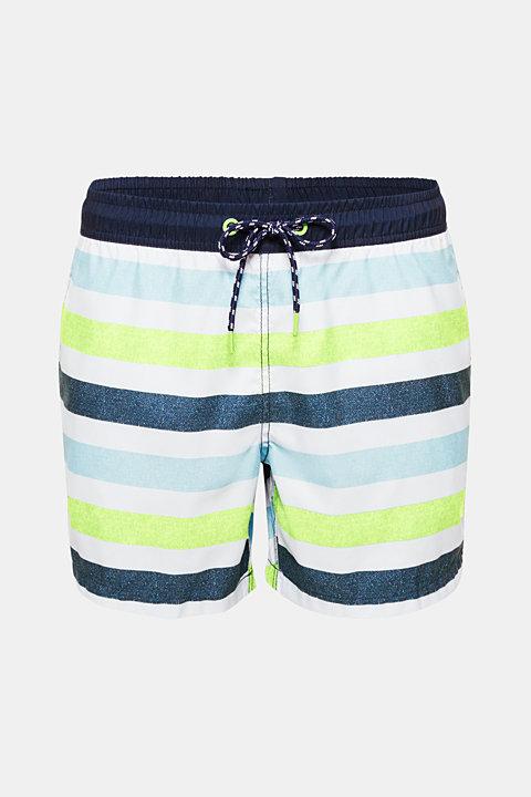 Swim shorts with melange block stripes