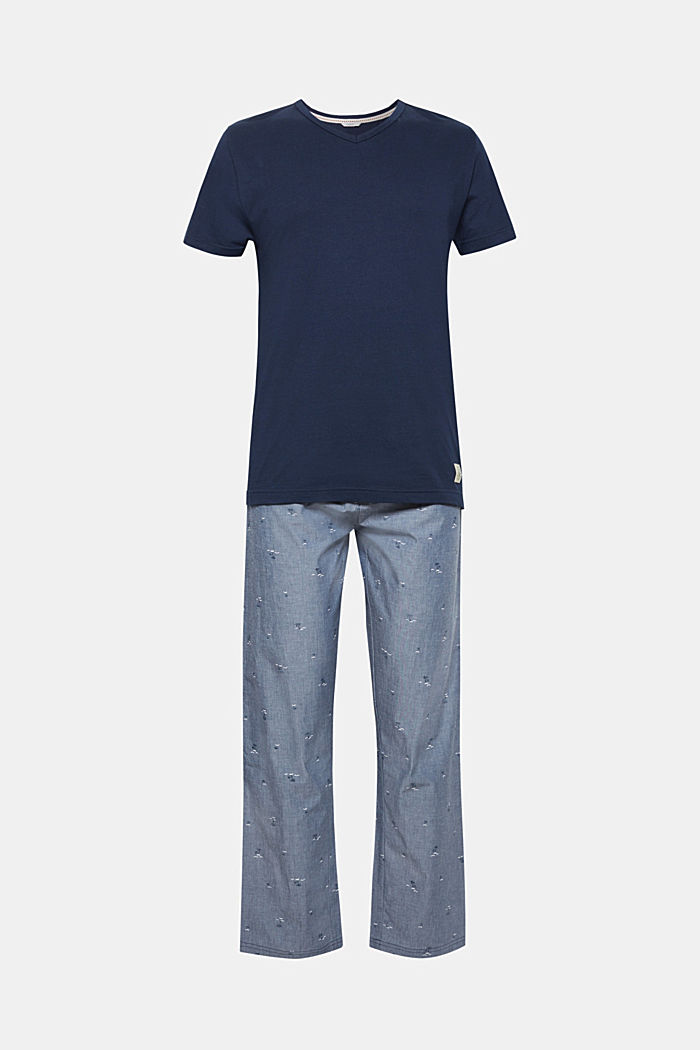Pyjama mit Print-Hose, 100% Baumwolle, GREY BLUE, detail image number 0
