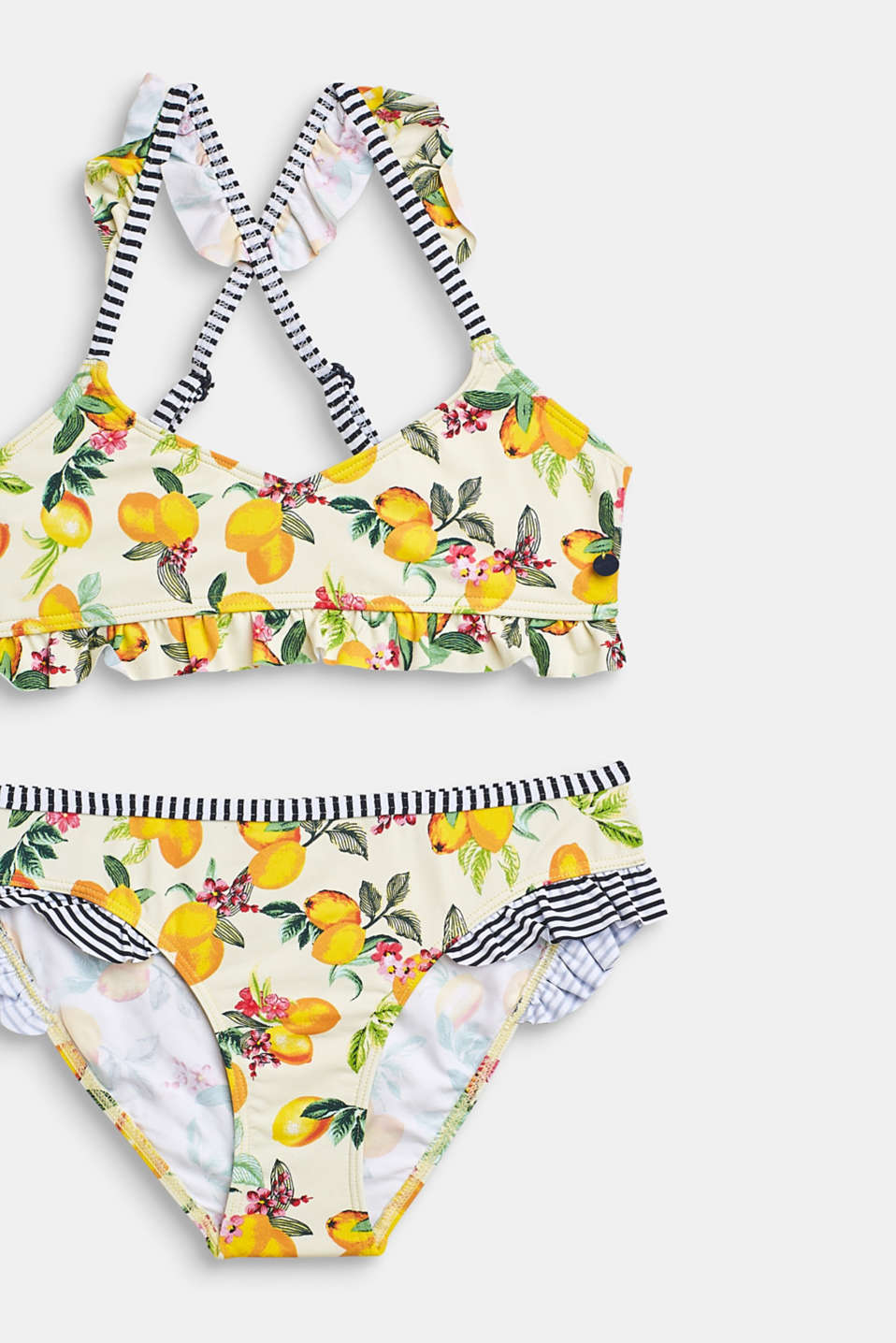 Bikini set with a mix of patterns and frills, BRIGHT YELLOW, detail image number 2