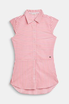 Striped, woven nightshirt made of 100% cotton, CORAL, detail