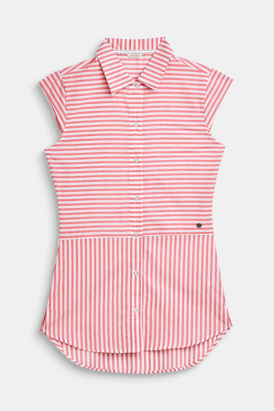 Striped, woven nightshirt made of 100% cotton, CORAL, detail image number 0
