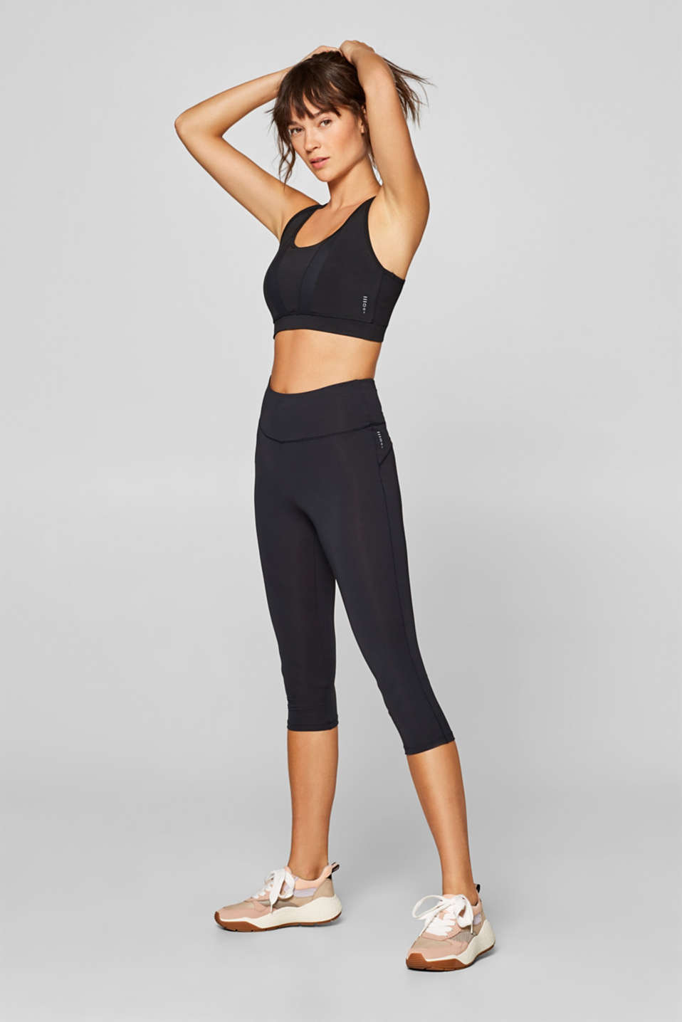 Esprit - Cropped active leggings with a comfort waistband, E-DRY