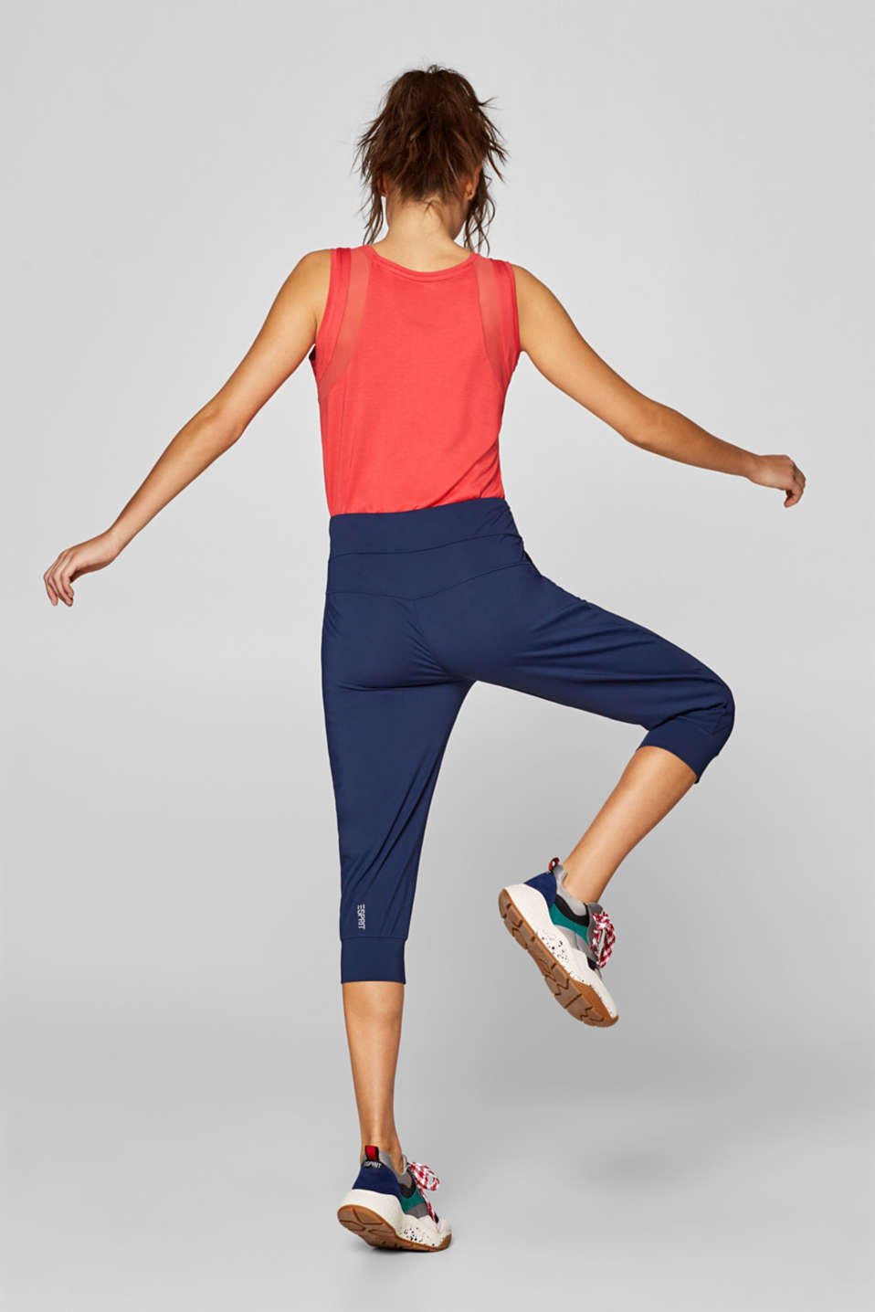 Loose active capris, E-DRY, NAVY, detail image number 2