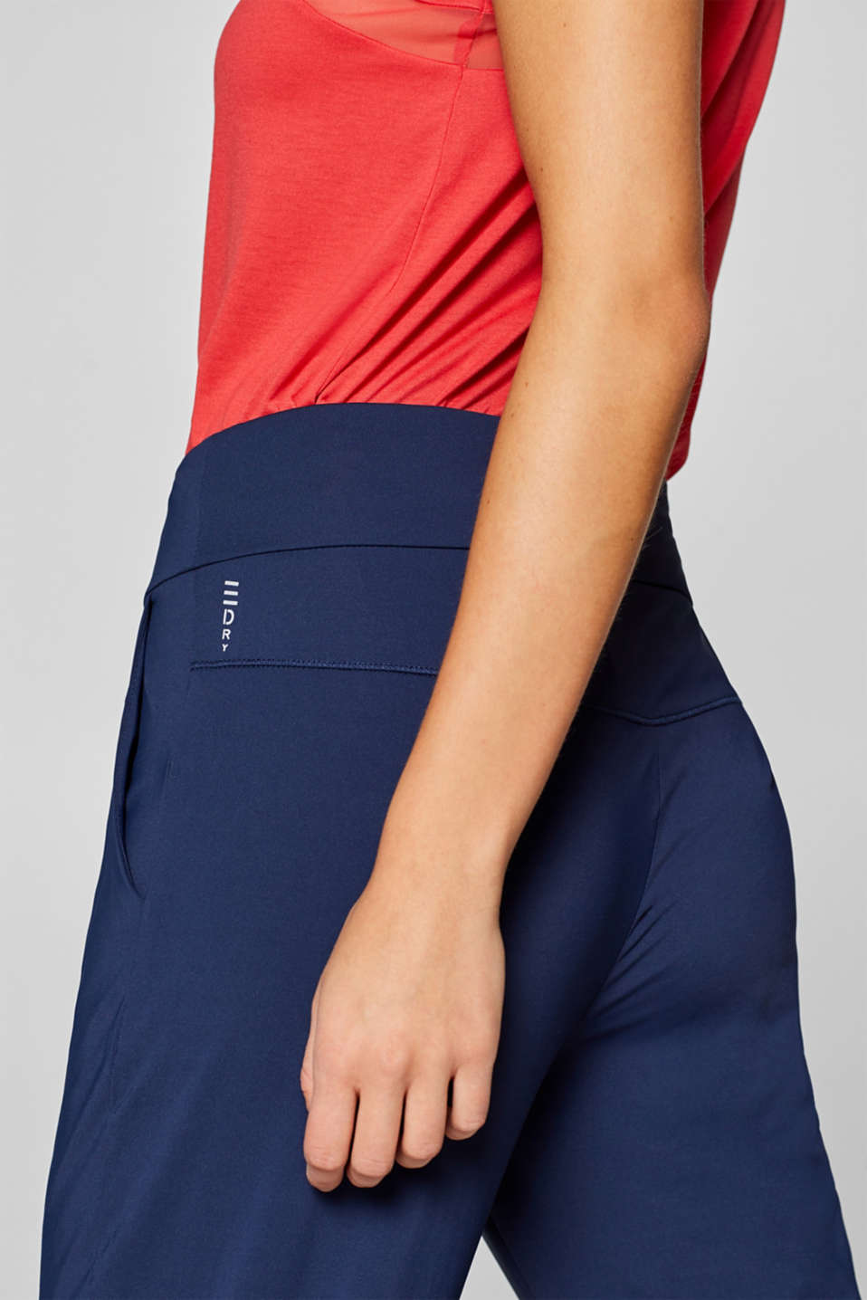 Loose active capris, E-DRY, NAVY, detail image number 1