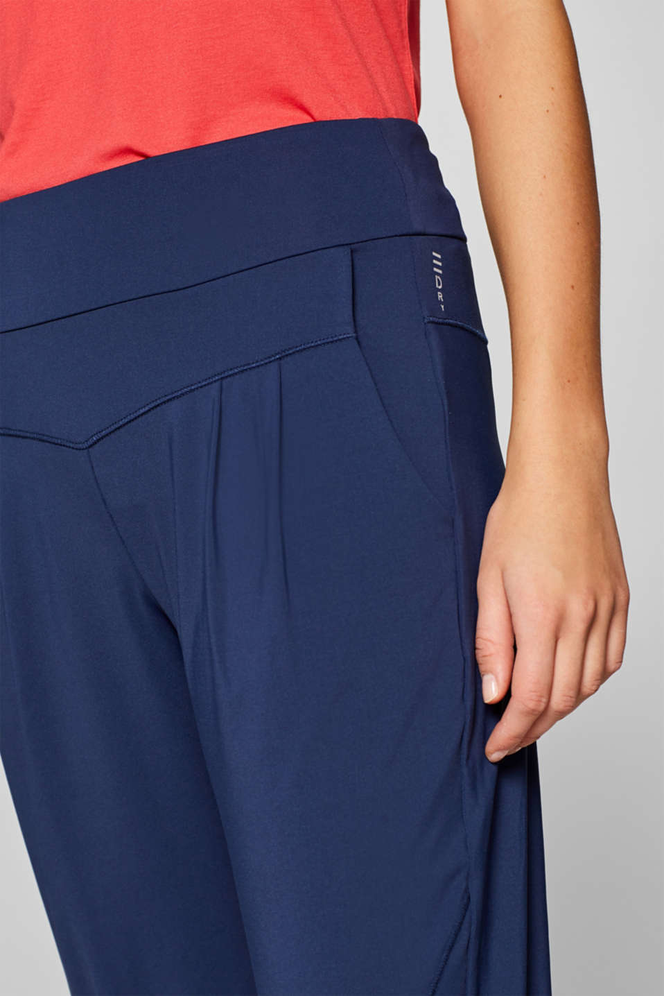Loose active capris, E-DRY, NAVY, detail image number 5