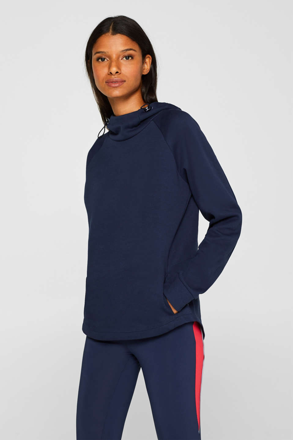 Esprit - Hoodie with fabric inserts and cord stoppers