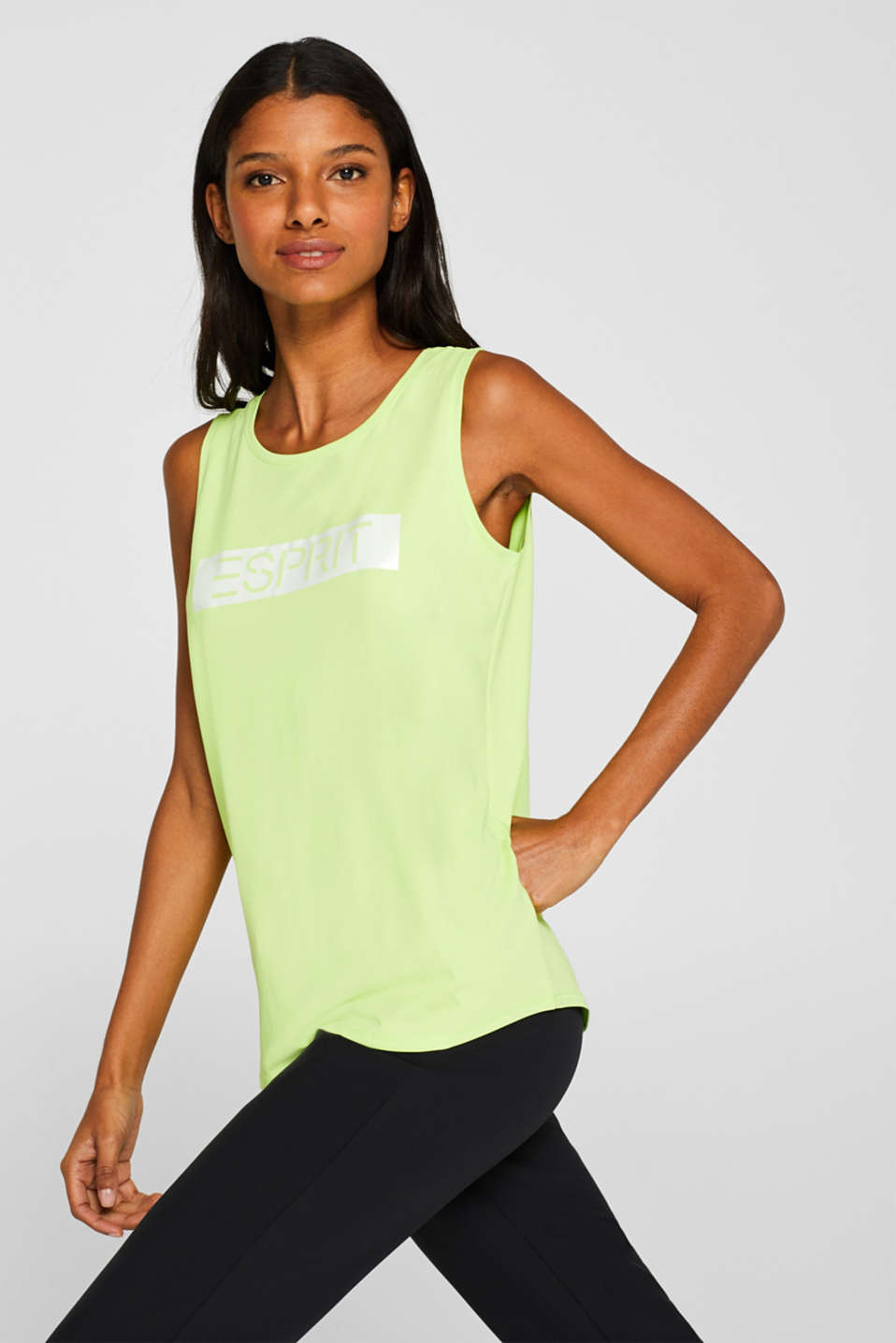 Esprit - Stretch top with a print and racing stripes, E-DRY