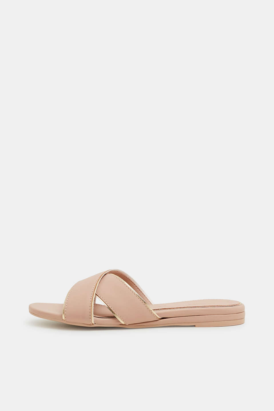 Esprit - Slip-ons with metallic piping, made of leather