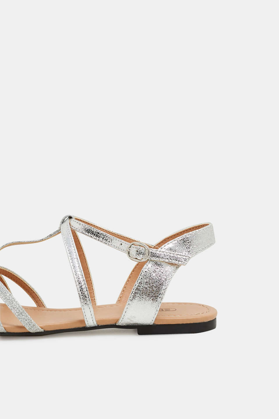 Sandals with glitter, in faux leather, SILVER, detail image number 5