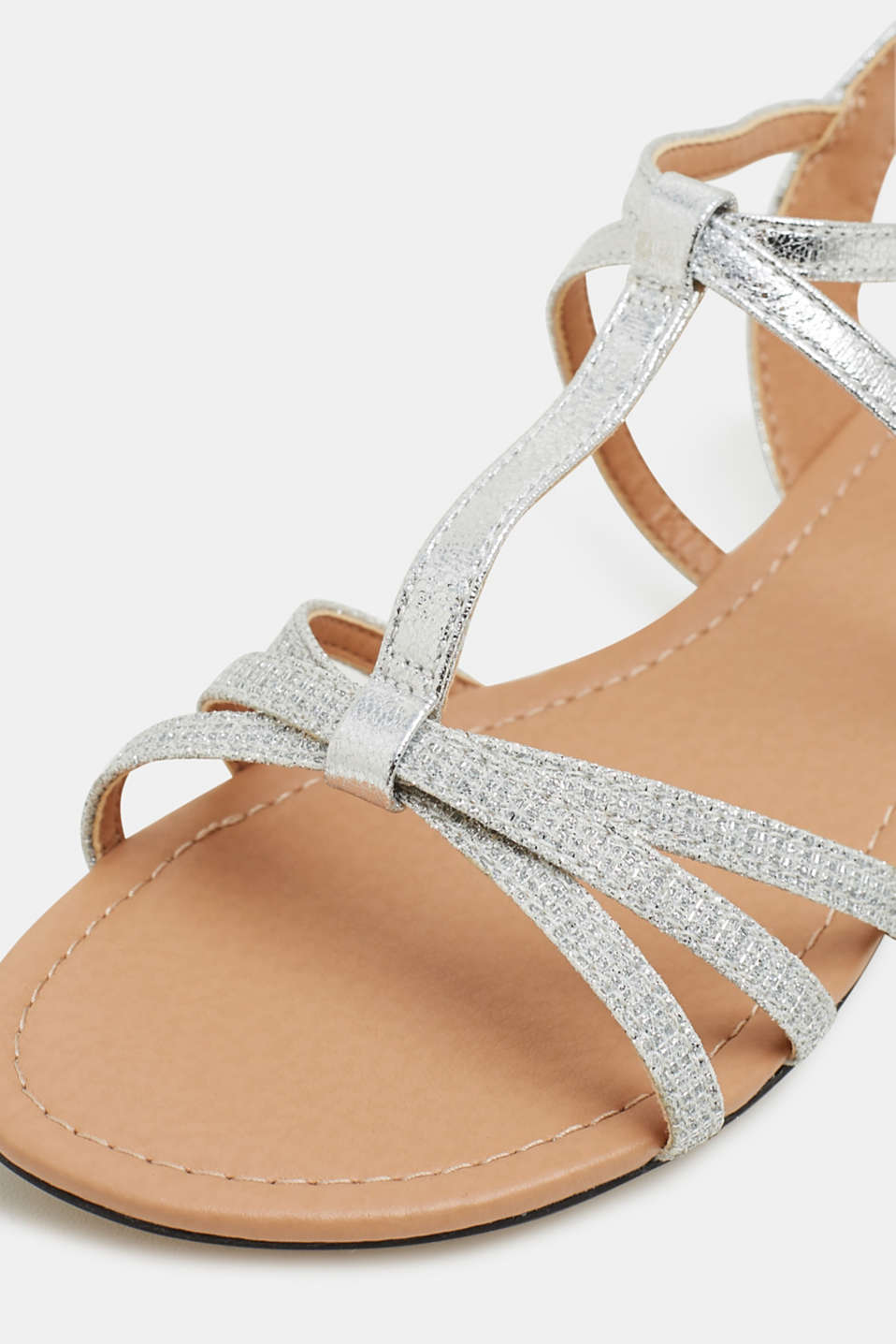 Sandals with glitter, in faux leather, SILVER, detail image number 4