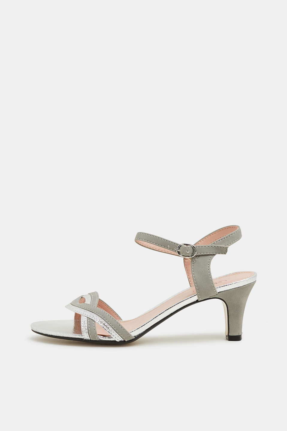 Esprit - Faux leather sandals with metallic accents