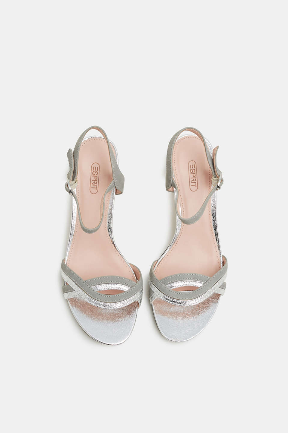 Faux leather sandals with metallic accents, SILVER, detail image number 1