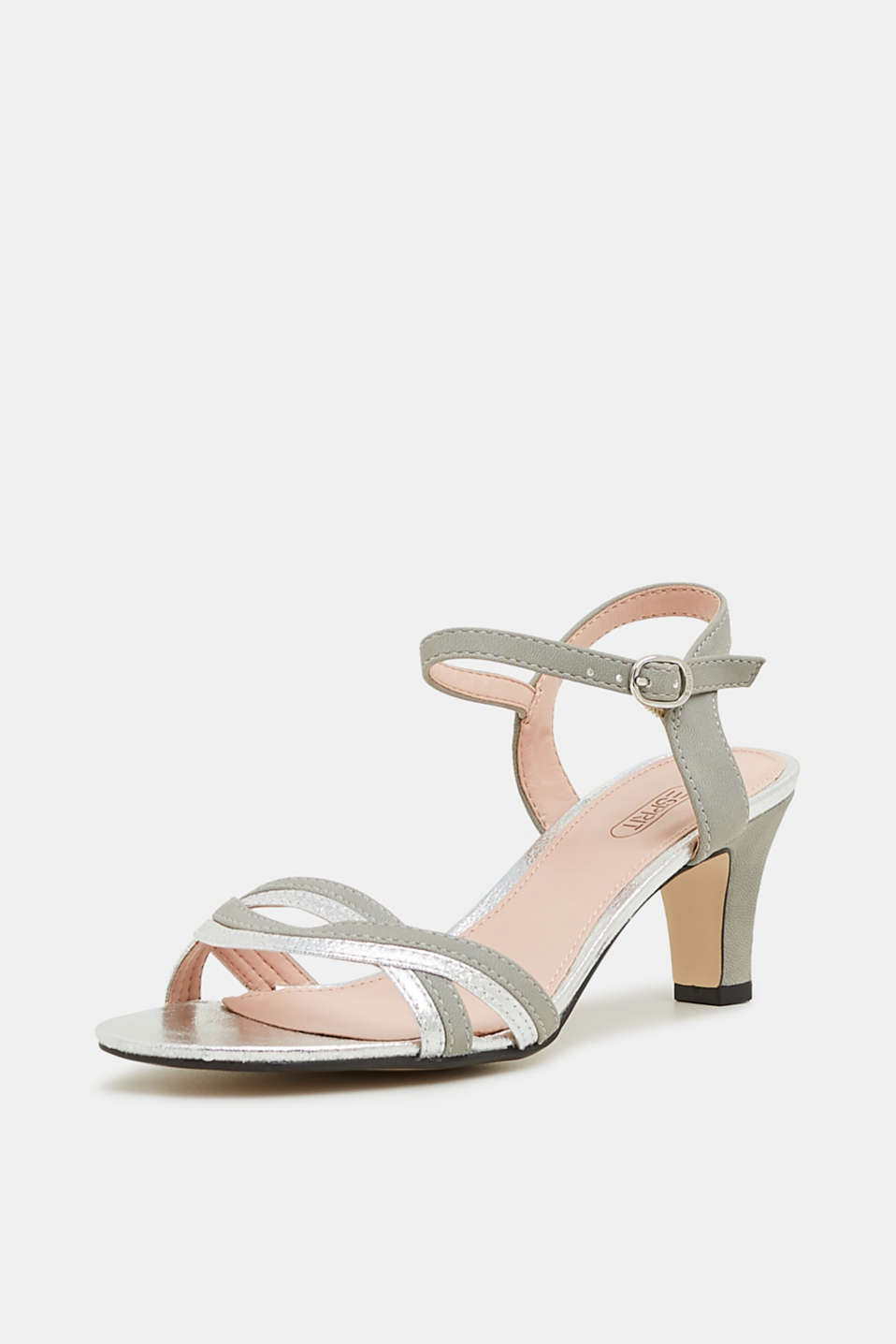 Faux leather sandals with metallic accents, SILVER, detail image number 2
