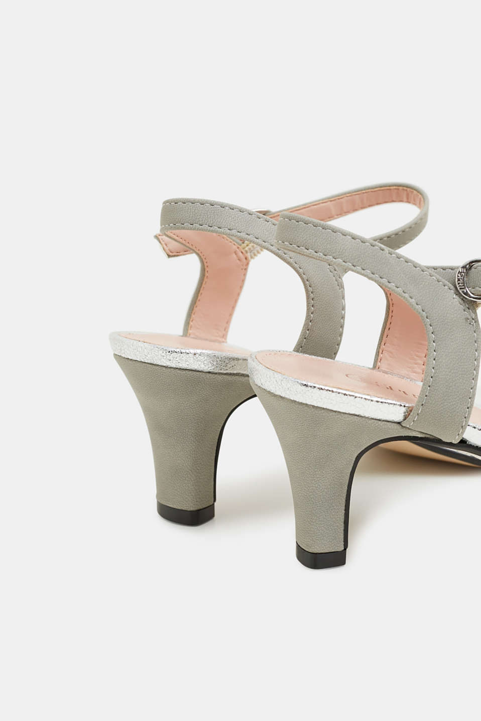 Faux leather sandals with metallic accents, SILVER, detail image number 5