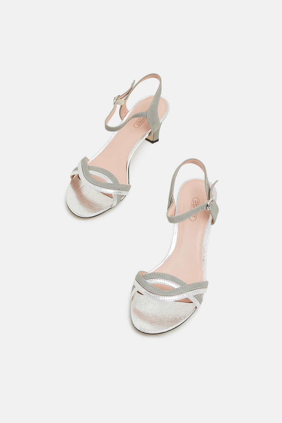 Faux leather sandals with metallic accents, SILVER, detail image number 6