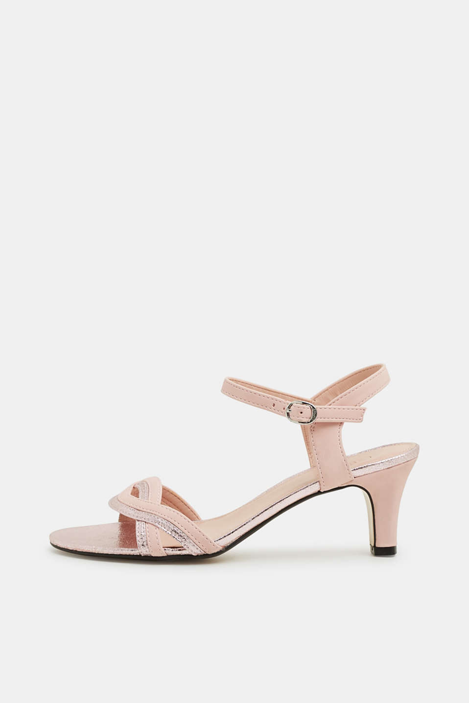 Esprit - Sandalen met metallic accenten, in een leerlook