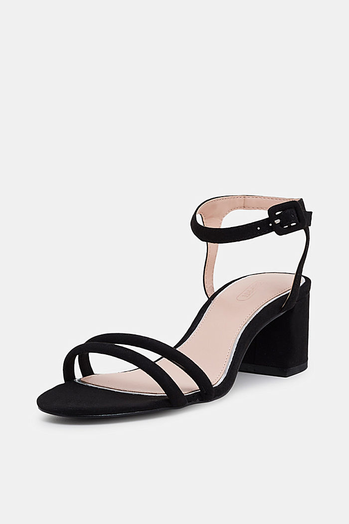 Sandalette in Velours-Optik, BLACK, detail image number 2