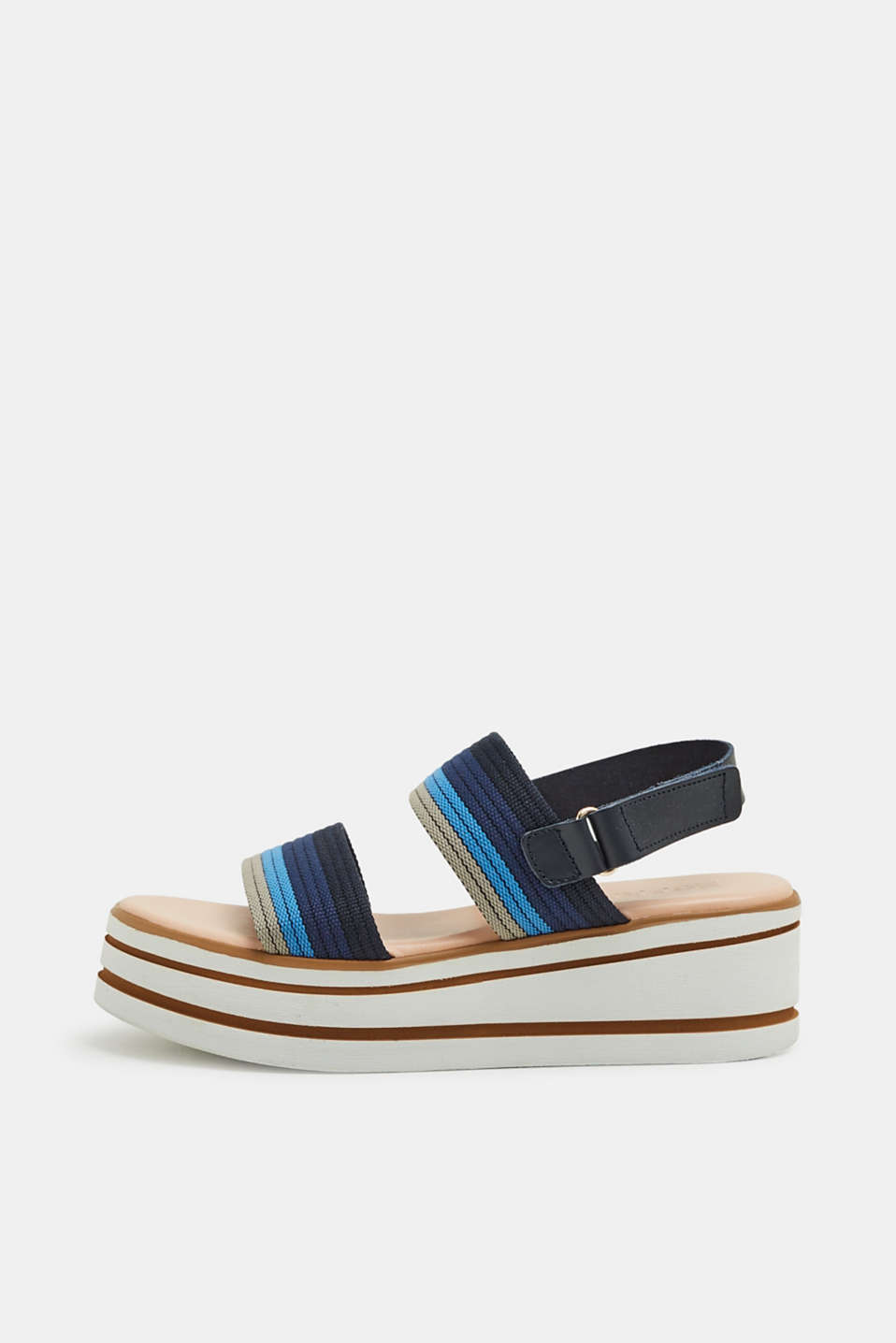 Esprit - Platform sandals with striped textile strap