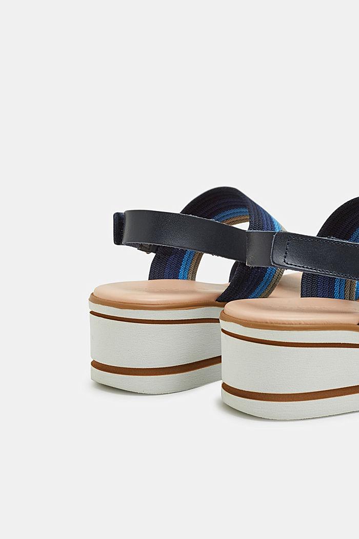 Sandalias de plataforma con tiras de tela a rayas, NAVY, detail image number 4