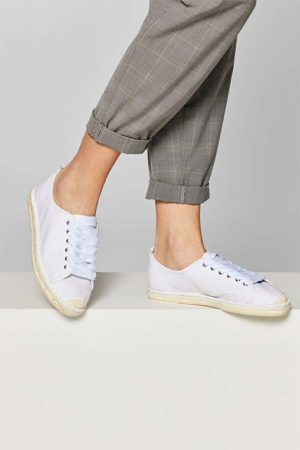 Canvas espadrille trainers, WHITE, detail image number 3