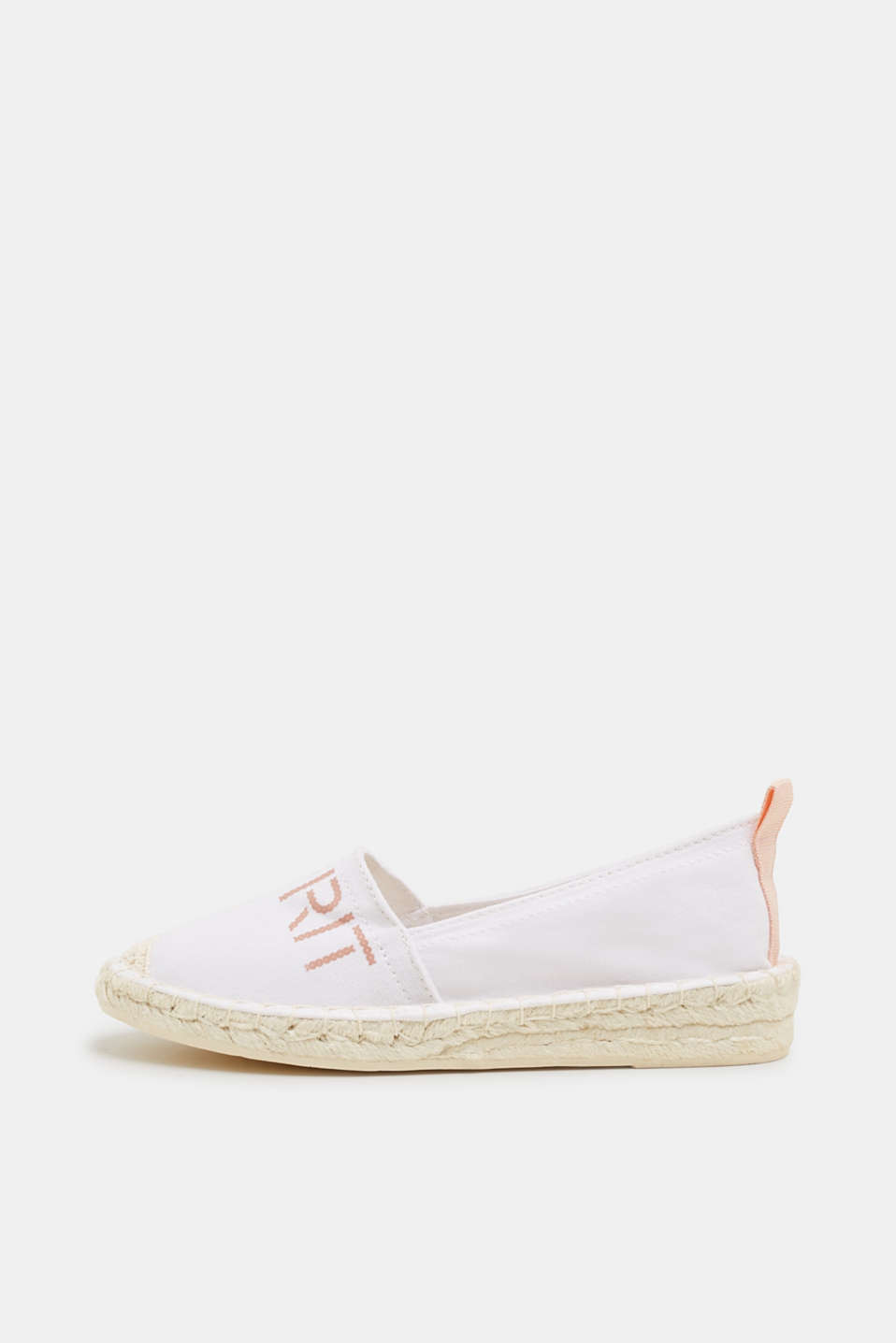 Espadrilles with a logo print and bast sole, WHITE, detail image number 0