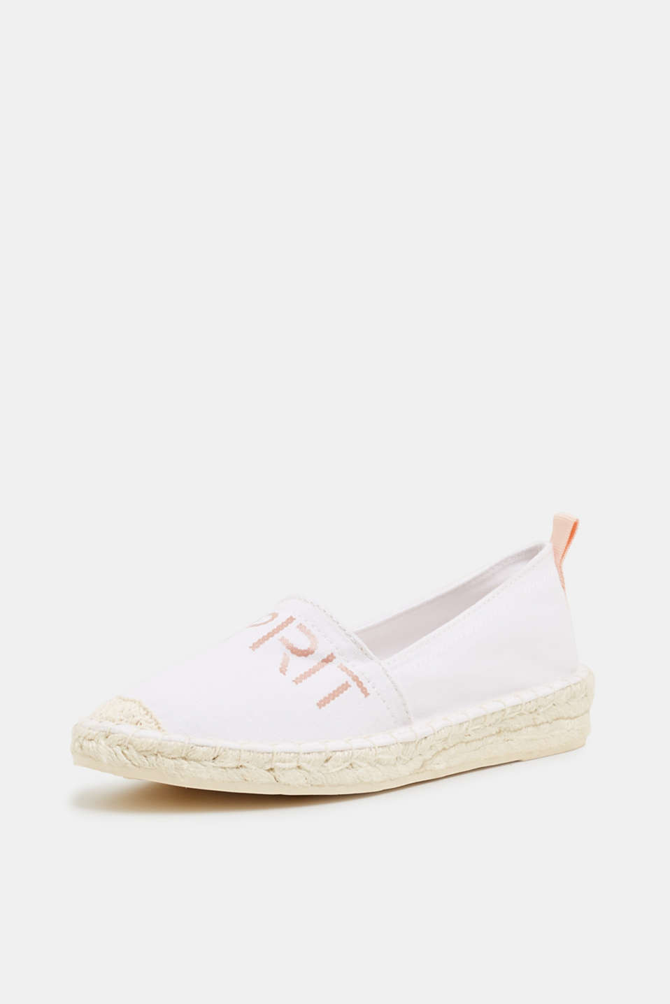 Espadrilles with a logo print and bast sole, WHITE, detail image number 2