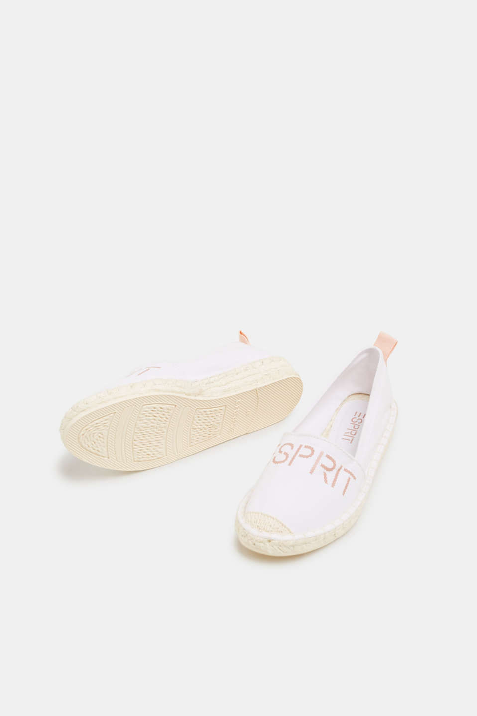 Espadrilles with a logo print and bast sole, WHITE, detail image number 6