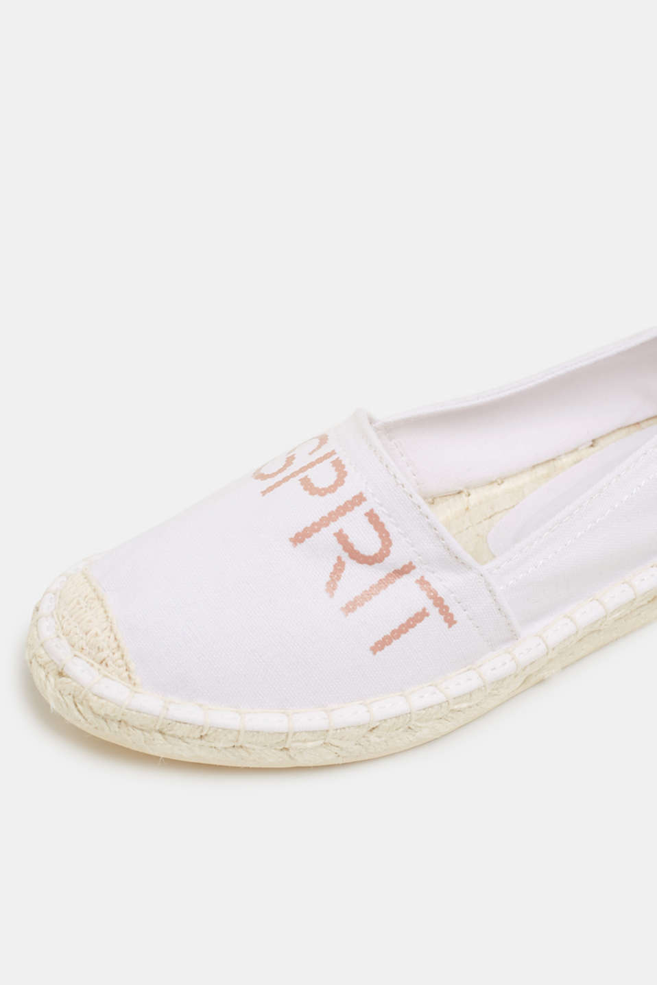 Espadrilles with a logo print and bast sole, WHITE, detail image number 4