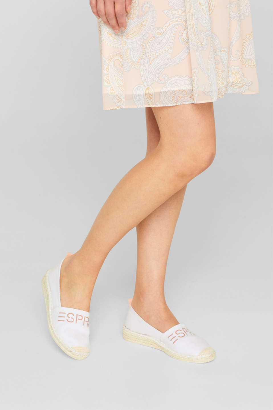 Espadrilles with a logo print and bast sole, WHITE, detail image number 3