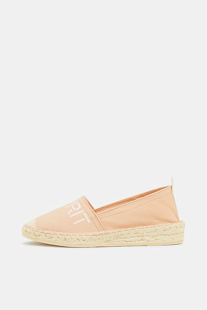 Espadrilles with a logo print and bast sole, DARK OLD PINK, detail image number 0