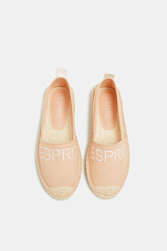 Espadrilles with a logo print and bast sole, DARK OLD PINK, detail image number 1