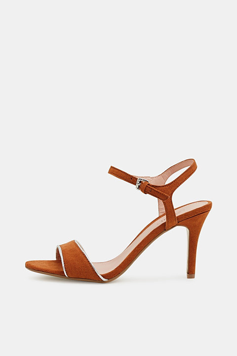 Suede sandals with metallic accents