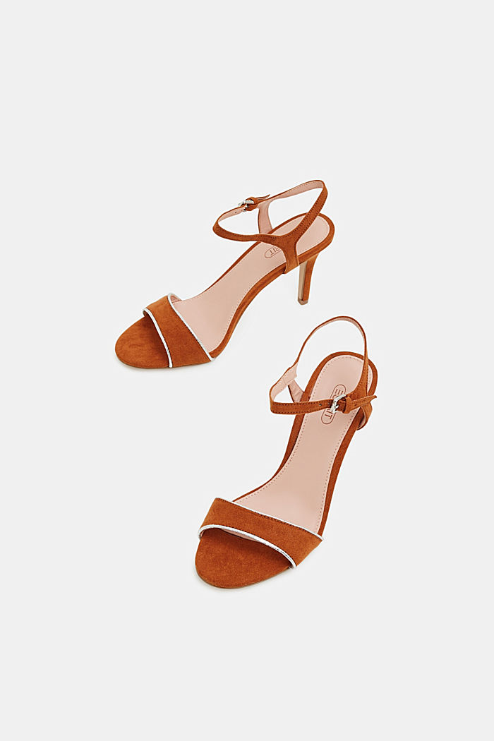 Suede sandals with metallic accents, RUST BROWN, detail image number 1