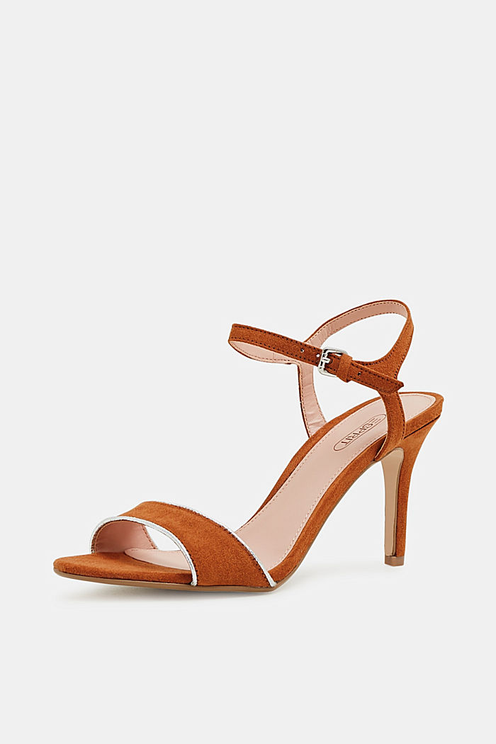 Suede sandals with metallic accents, RUST BROWN, detail image number 2