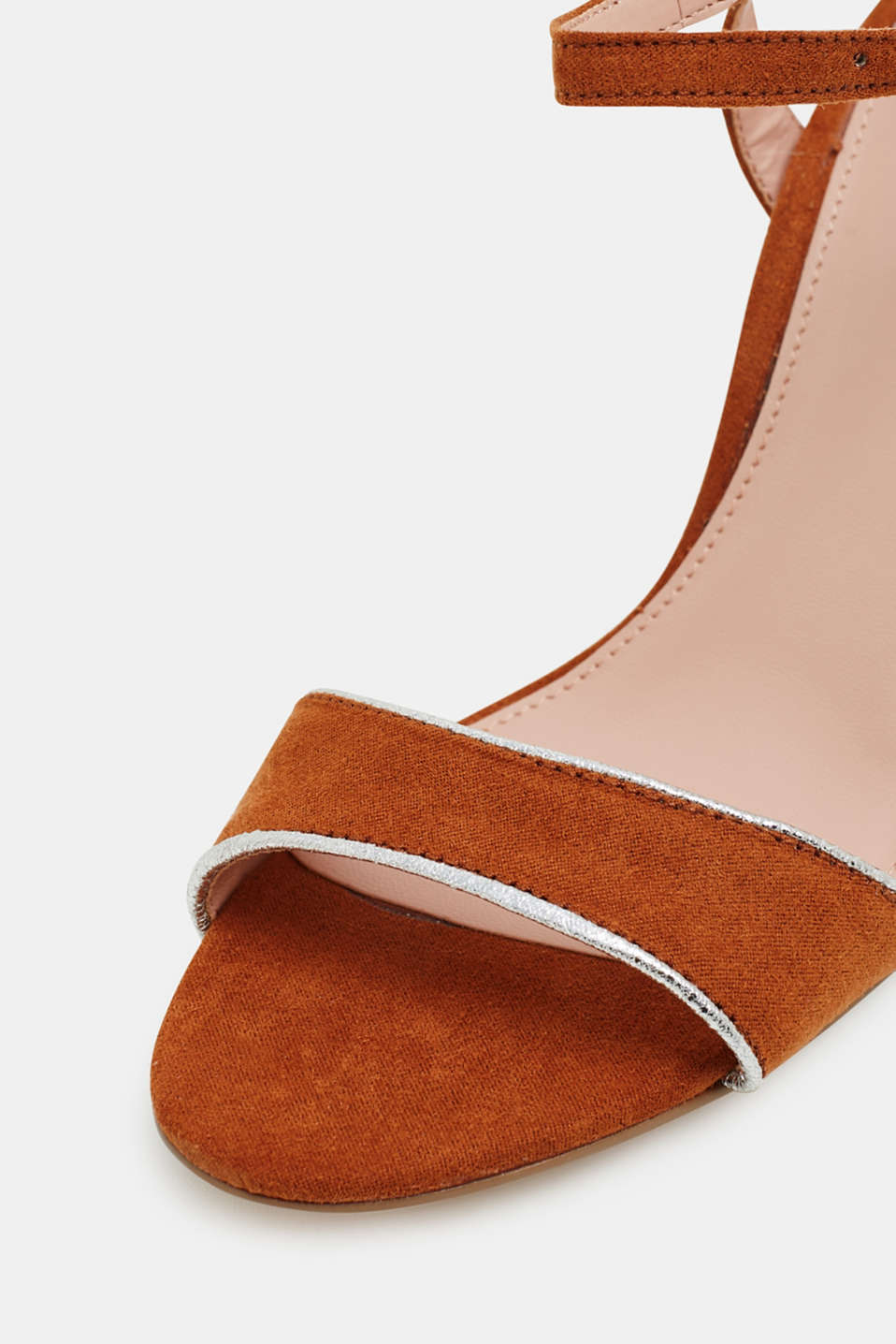 Suede sandals with metallic accents, RUST BROWN, detail image number 4
