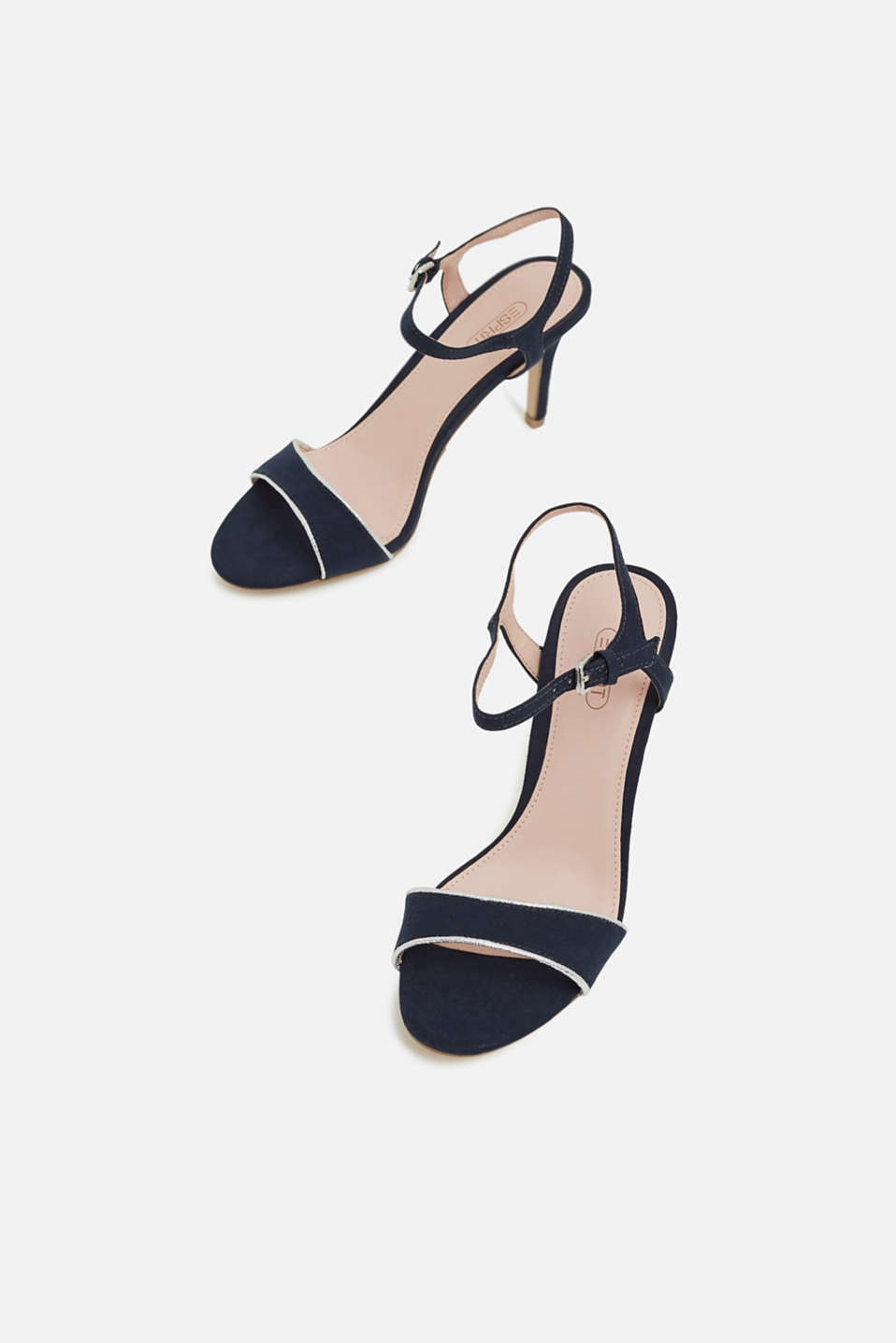 Suede sandals with metallic accents, NAVY 5, detail image number 1