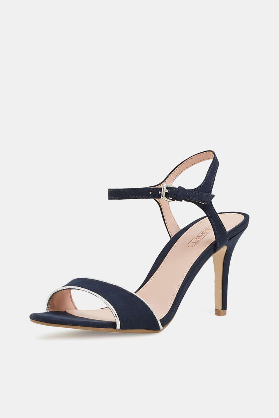 Suede sandals with metallic accents, NAVY 5, detail image number 2