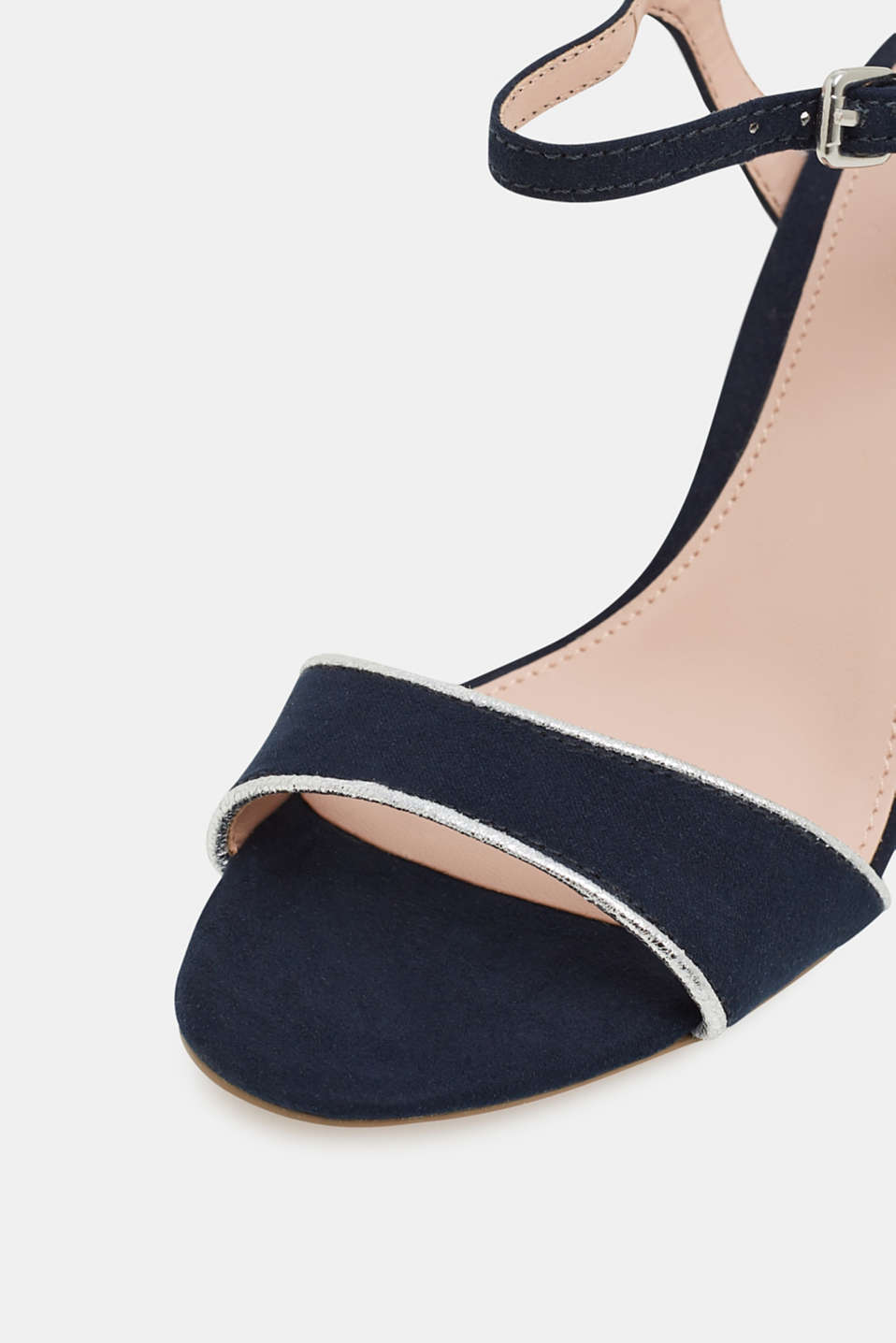 Suede sandals with metallic accents, NAVY 5, detail image number 4