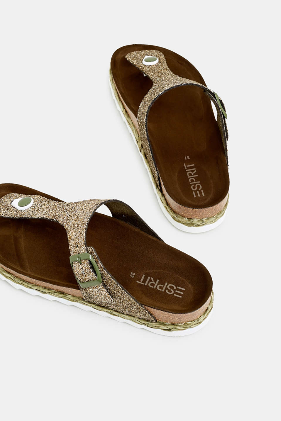 Glittering, toe-post slip-ons, KHAKI GREEN, detail image number 5