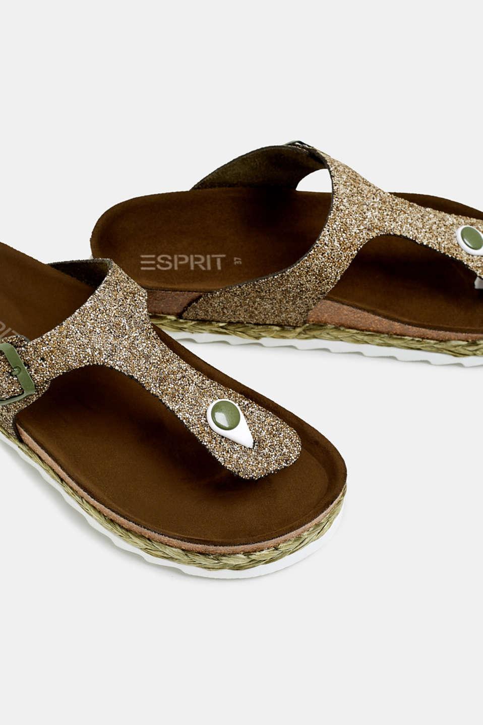 Glittering, toe-post slip-ons, KHAKI GREEN, detail image number 4