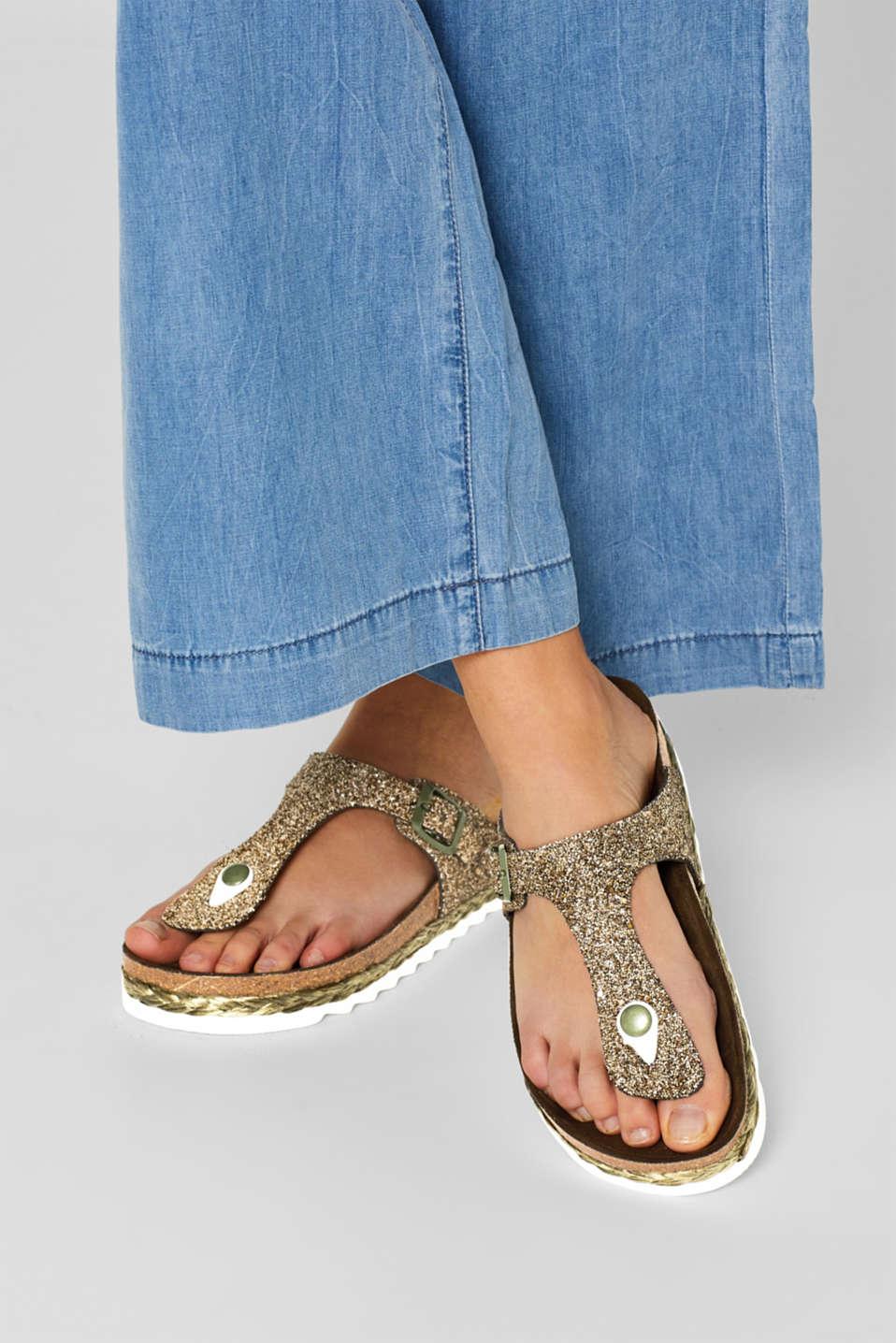 Glittering, toe-post slip-ons, KHAKI GREEN, detail image number 3
