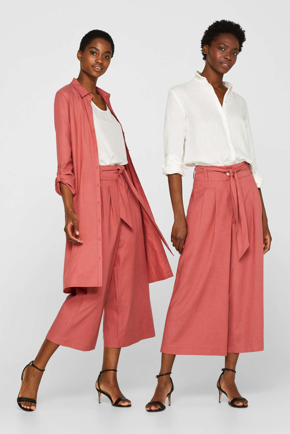 Esprit - Linen blend: culottes with a tie-around belt